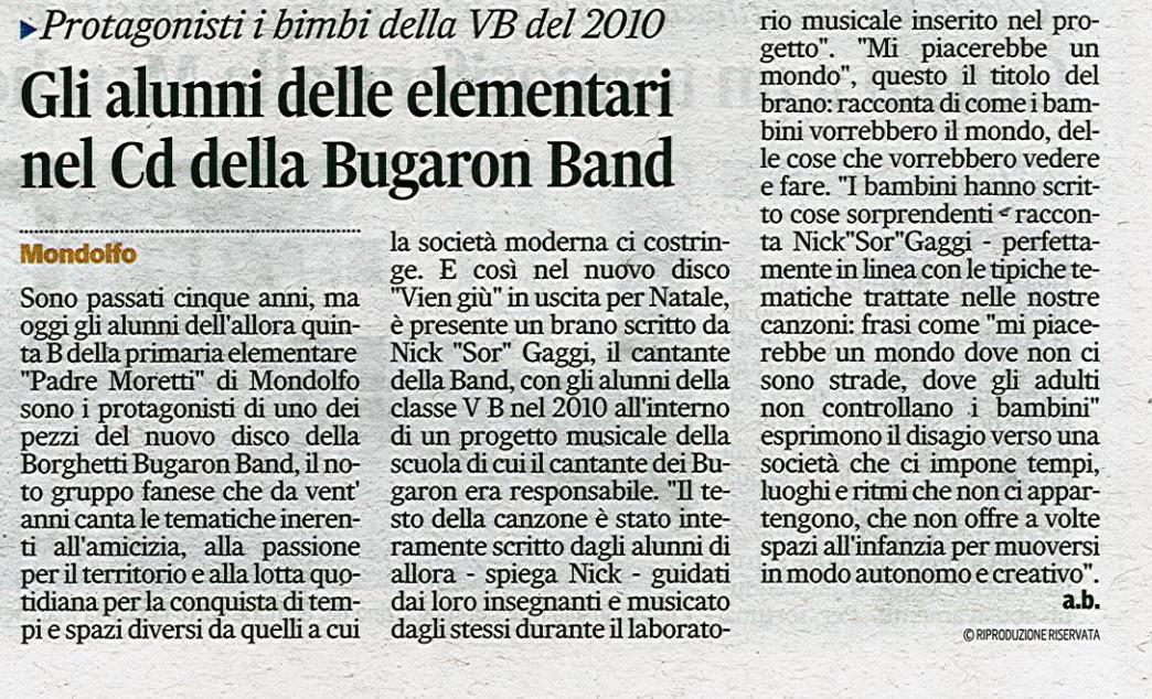 rassegna stampa - bugaron band - corriere adriatico 16 Dicembre 2014