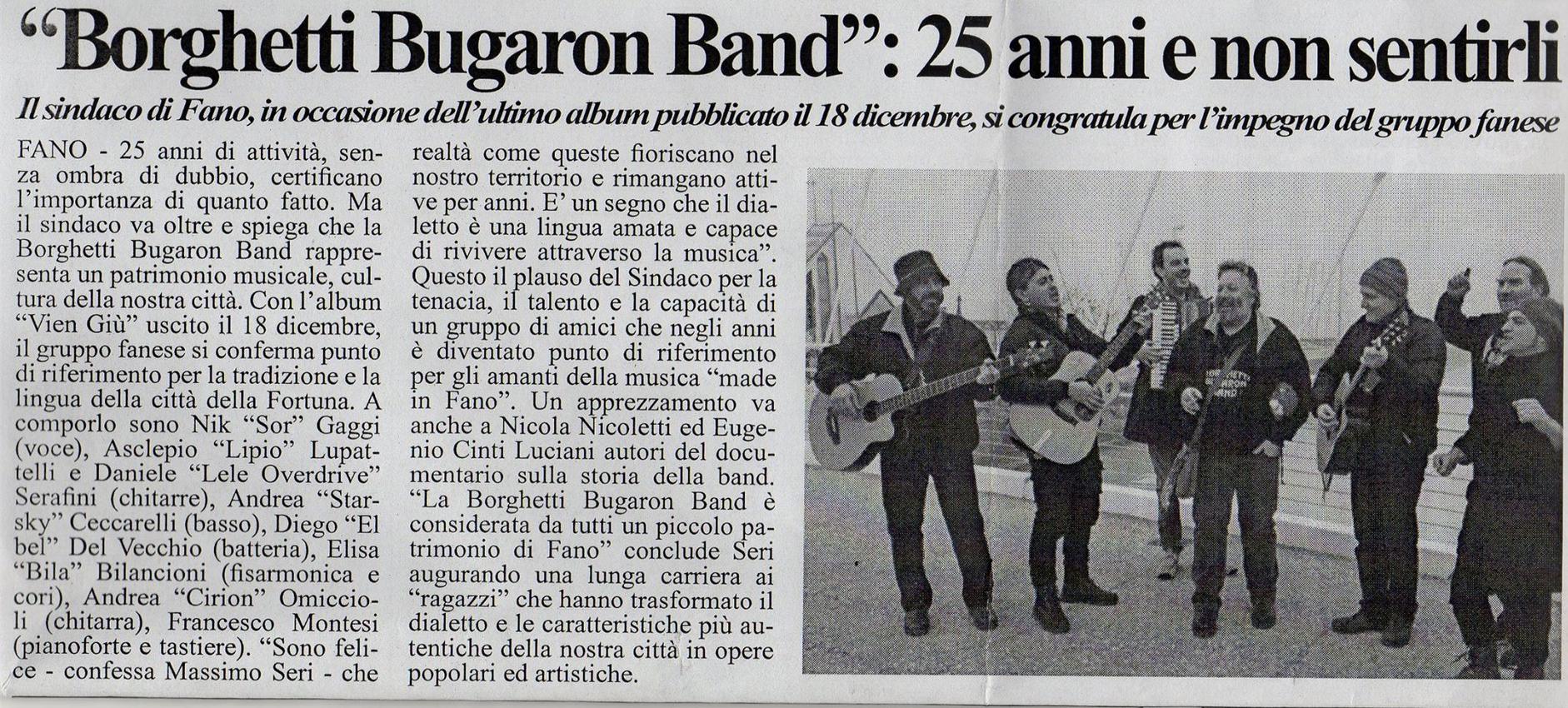 sindaco di fano elogia la Bugaron Band